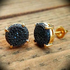 Simulated Black Diamond Round Earrings